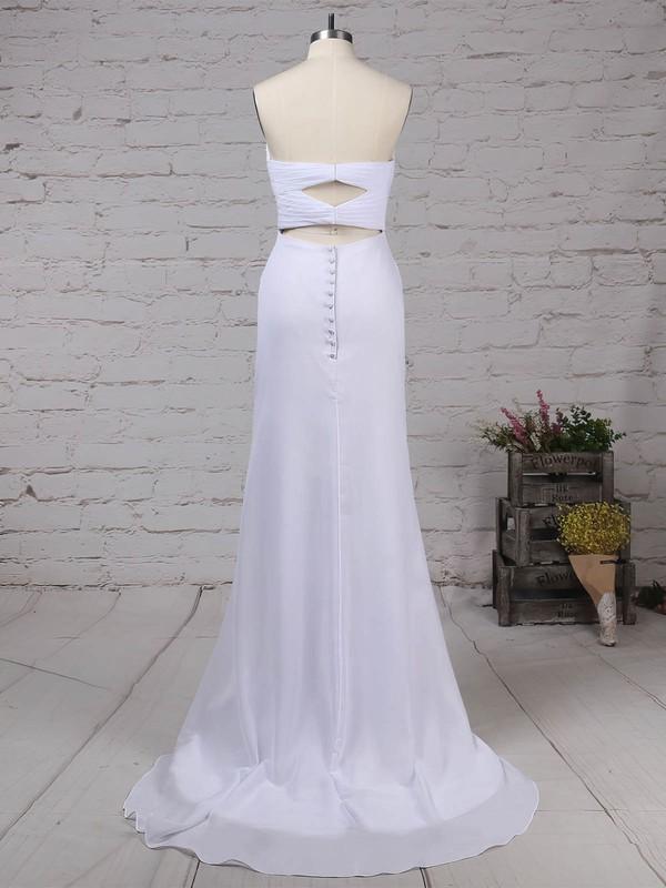 Chiffon Sweetheart Trumpet/Mermaid Sweep Train Beading Wedding Dresses #LDB00023292