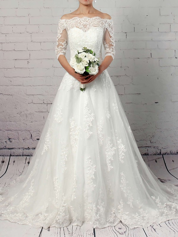 Tulle Off-the-shoulder Ball Gown Sweep Train Sequins Wedding Dresses #LDB00023304