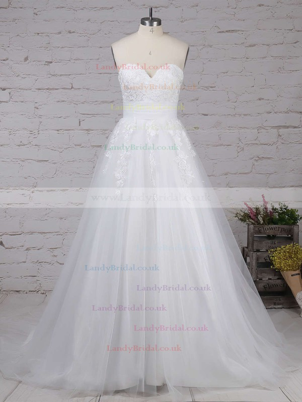 Tulle Sweetheart Ball Gown Sweep Train Appliques Lace Wedding Dresses #LDB00023320