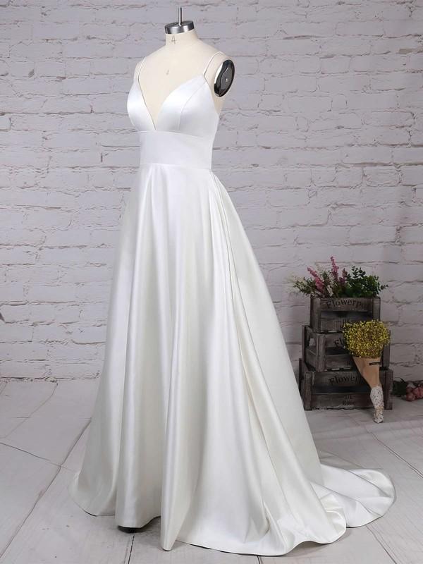 Satin V-neck Princess Sweep Train Pockets Wedding Dresses #LDB00023123