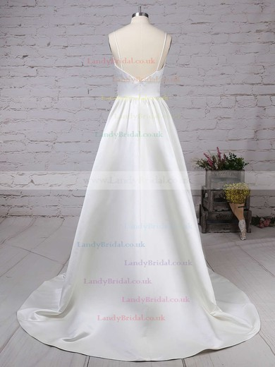 Satin V-neck Princess Sweep Train Pockets Wedding Dresses #LDB00023123