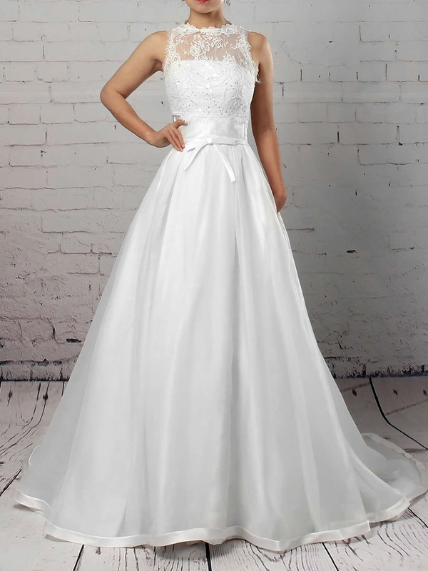 Satin Lace Strapless Ball Gown Court Train Sashes / Ribbons Wedding Dresses #LDB00023262