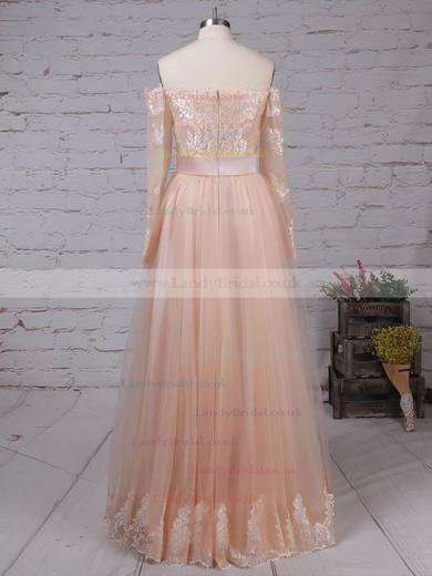 Tulle Off-the-shoulder Princess Floor-length Appliques Lace Wedding Dresses #LDB00023280
