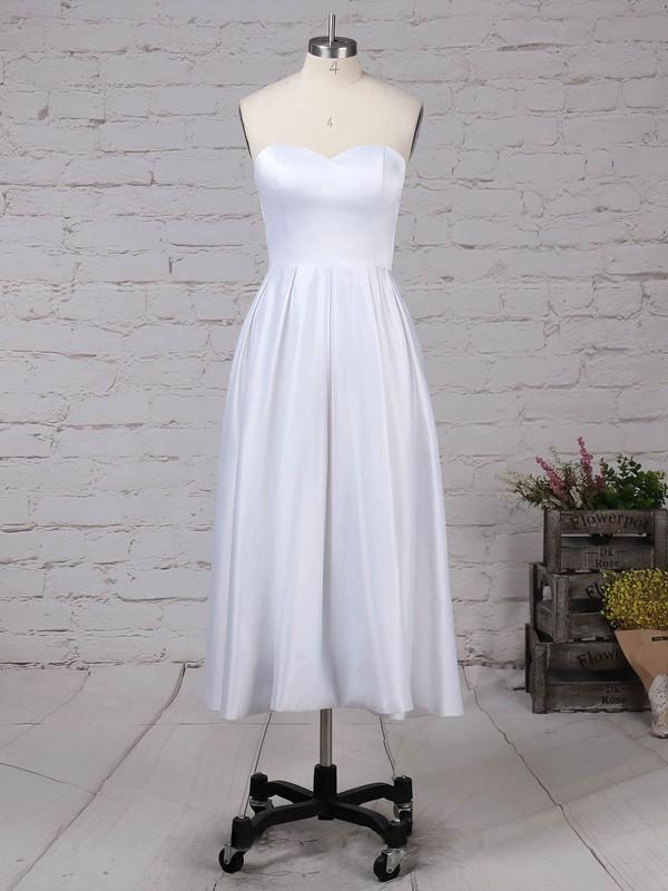 Lace Satin Scoop Neck Princess Tea-length Pockets Wedding Dresses #LDB00023293