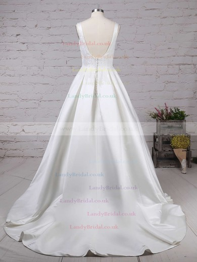 Satin Scoop Neck Ball Gown Sweep Train Appliques Lace Wedding Dresses #LDB00023317