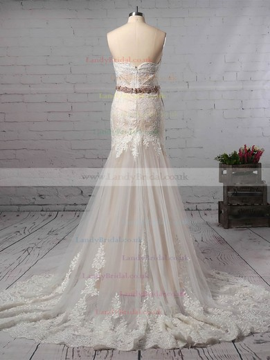 Trumpet/Mermaid Sweetheart Lace Tulle Watteau Train Sashes / Ribbons Wedding Dresses #LDB00023140