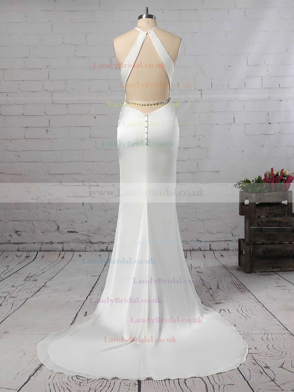 Trumpet/Mermaid Scoop Neck Chiffon Sweep Train Sashes / Ribbons Wedding Dresses #LDB00023145