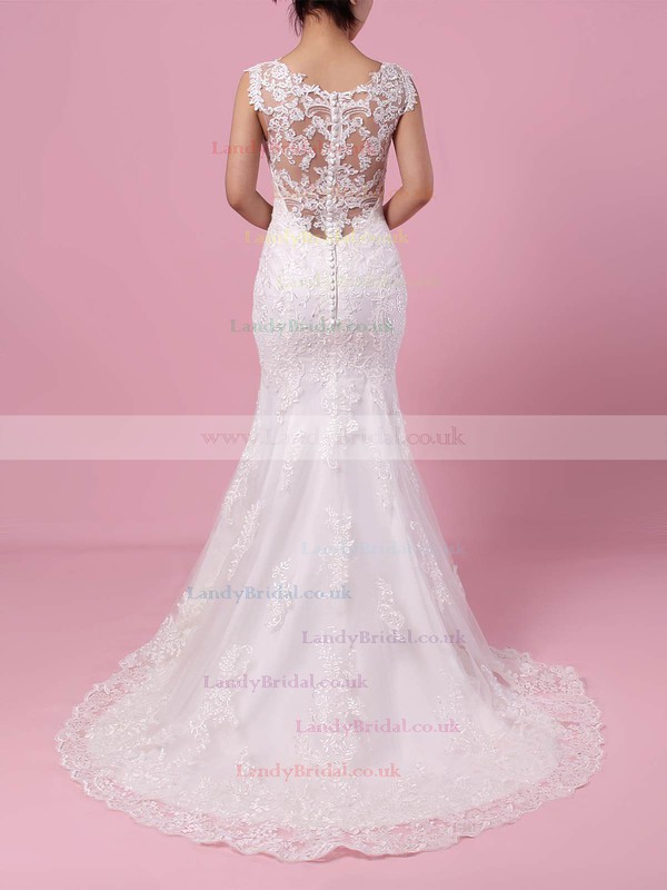 Trumpet/Mermaid V-neck Tulle Sweep Train Appliques Lace Wedding Dresses #LDB00023187