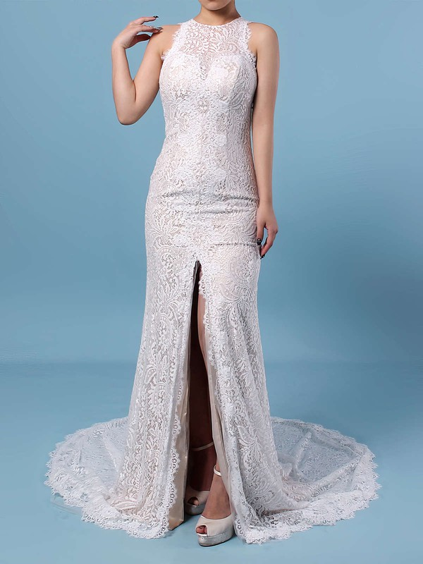 Sheath/Column Scoop Neck Lace Sweep Train Split Front Wedding Dresses #LDB00023287