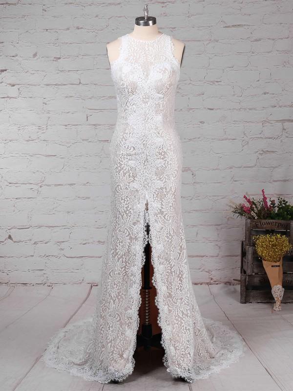 Sheath/Column Scoop Neck Lace Sweep Train Split Front Wedding Dresses #LDB00023287