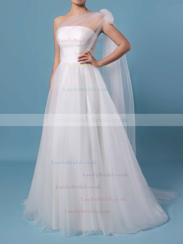 A-line Strapless Tulle Sweep Train Ruffles Wedding Dresses #LDB00023347