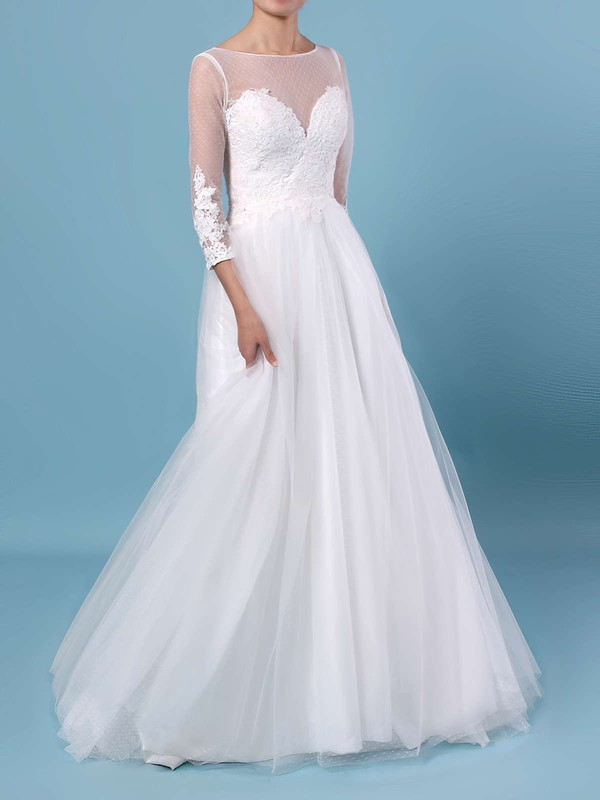 A-line Scoop Neck Tulle Floor-length Appliques Lace Wedding Dresses #LDB00023348