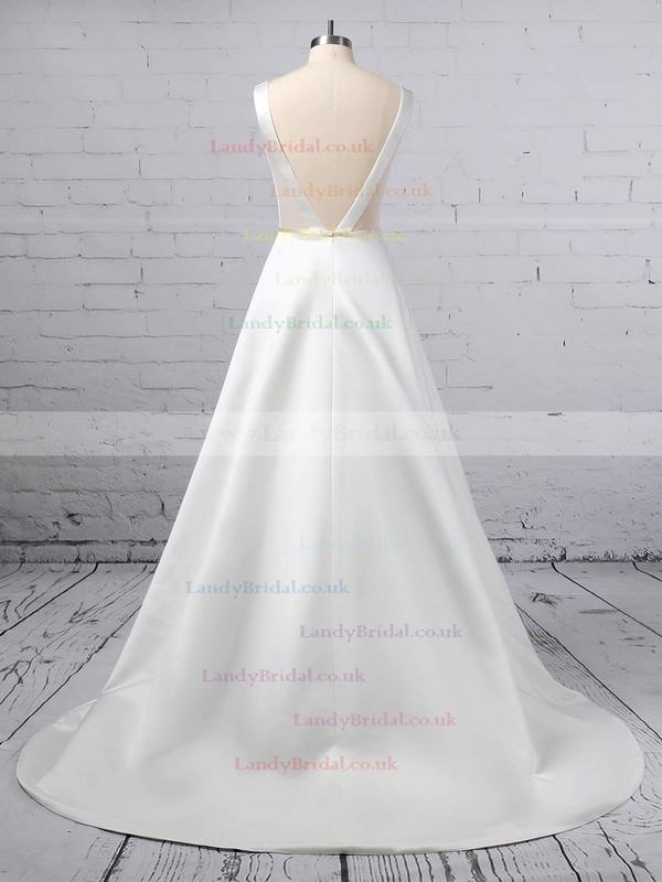 A-line V-neck Satin Sweep Train Beading Wedding Dresses #LDB00023350