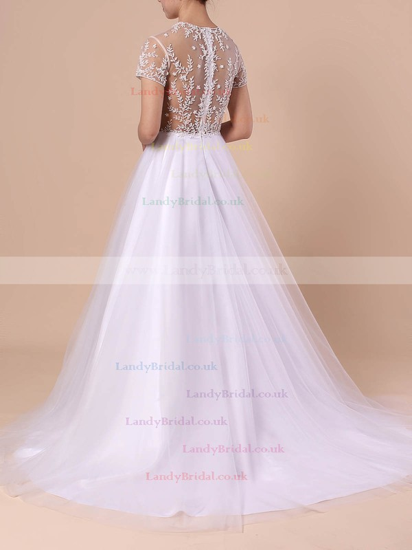 Princess Scoop Neck Tulle Sweep Train Beading Wedding Dresses #LDB00023351