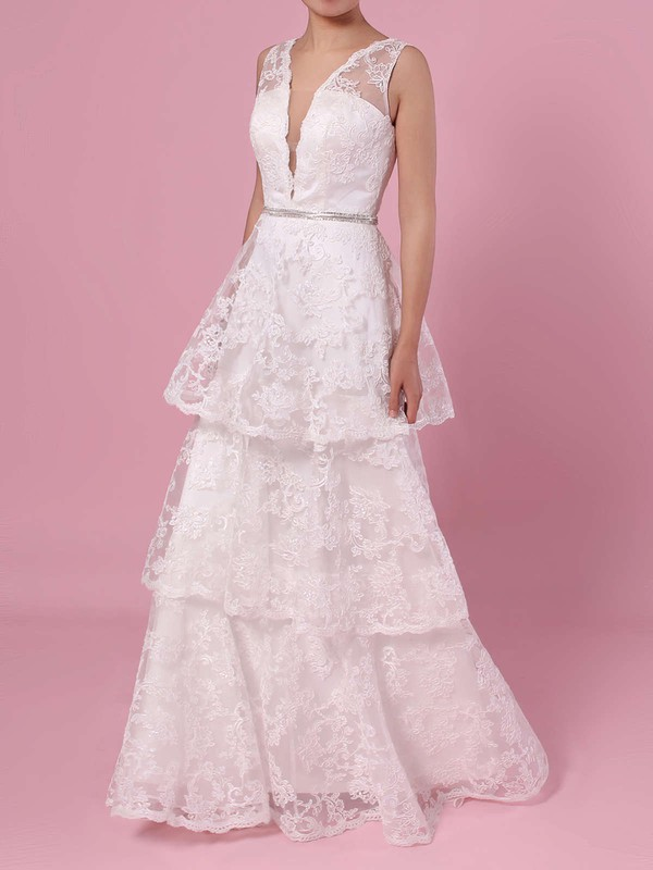 A-line V-neck Lace Sweep Train Beading Wedding Dresses #LDB00023353