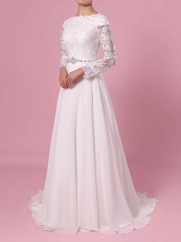 A-line Scoop Neck Lace Chiffon Sweep Train Beading Wedding Dresses #LDB00023355