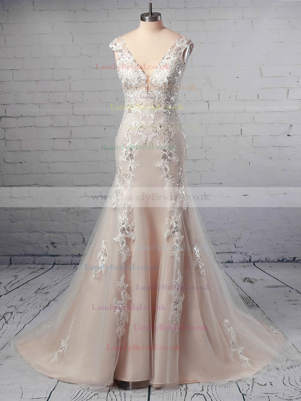 A-line V-neck Tulle Sweep Train Appliques Lace Wedding Dresses #LDB00023356