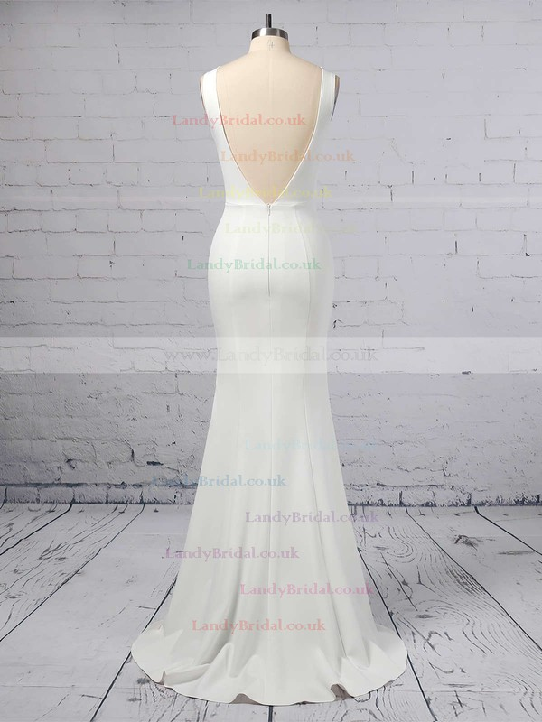 Sheath/Column Scoop Neck Satin Chiffon Sweep Train Wedding Dresses #LDB00023357