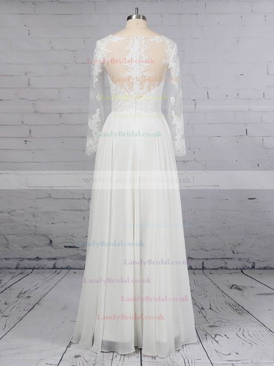 A-line Scoop Neck Chiffon Tulle Floor-length Beading Wedding Dresses #LDB00023359