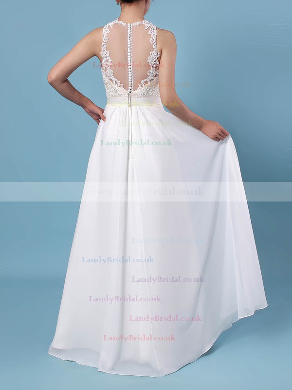 A-line Scoop Neck Chiffon Tulle Floor-length Beading Wedding Dresses #LDB00023360