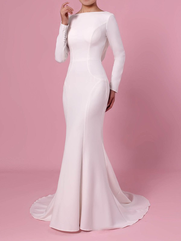 Trumpet/Mermaid Scoop Neck Silk-like Satin Sweep Train Wedding Dresses #LDB00023362