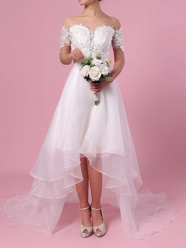 A-line Off-the-shoulder Organza Asymmetrical Appliques Lace Wedding Dresses #LDB00023363