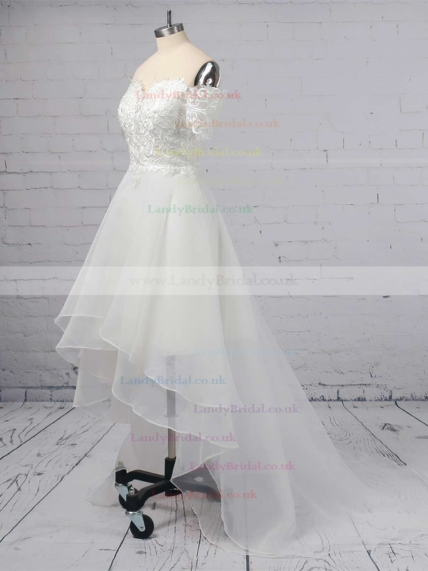 A-line Off-the-shoulder Organza Asymmetrical Appliques Lace Wedding Dresses #LDB00023363