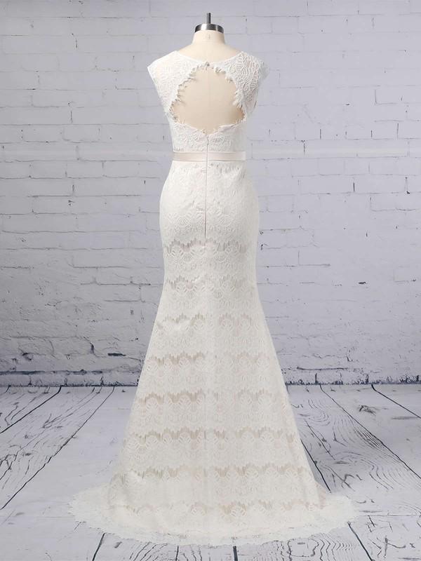 Trumpet/Mermaid Scoop Neck Lace Floor-length Sashes / Ribbons Wedding Dresses #LDB00023364