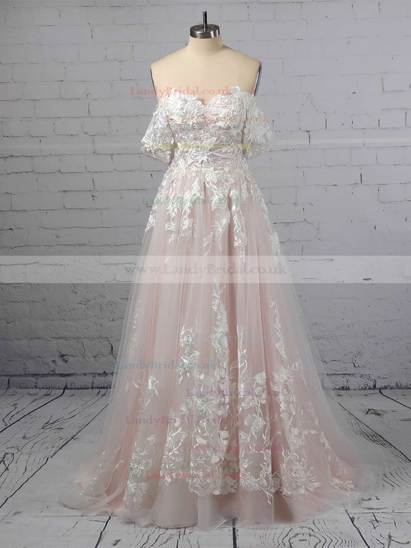 A-line Off-the-shoulder Tulle Sweep Train Appliques Lace Wedding Dresses #LDB00023365