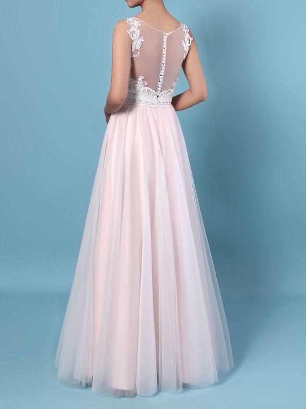 A-line V-neck Tulle Floor-length Beading Wedding Dresses #LDB00023366