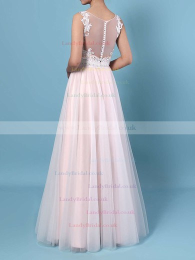 A-line V-neck Tulle Floor-length Beading Wedding Dresses #LDB00023366