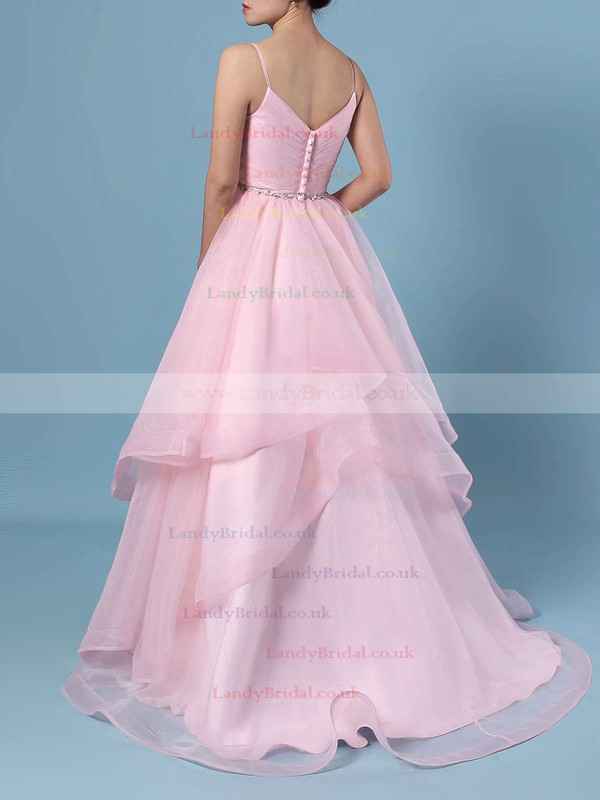 Ball Gown V-neck Organza Sweep Train Beading Wedding Dresses #LDB00023367