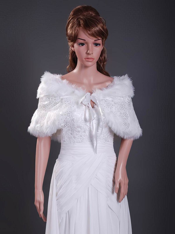 Faux Fur with Appliques Wedding Shawls