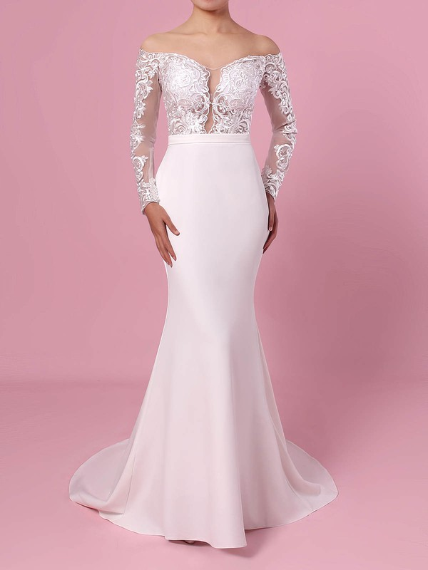 Trumpet/Mermaid Off-the-shoulder Tulle Satin Chiffon Sweep Train Appliques Lace Wedding Dresses #LDB00023368
