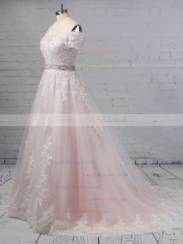Ball Gown Off-the-shoulder Tulle Sweep Train Beading Wedding Dresses #LDB00023369
