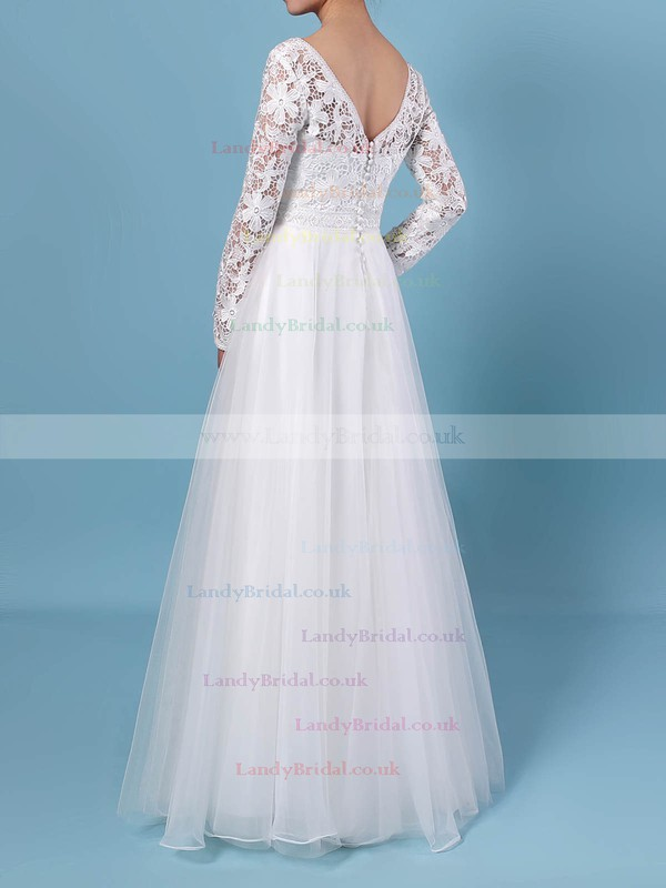 A-line V-neck Lace Tulle Floor-length Wedding Dresses #LDB00023370