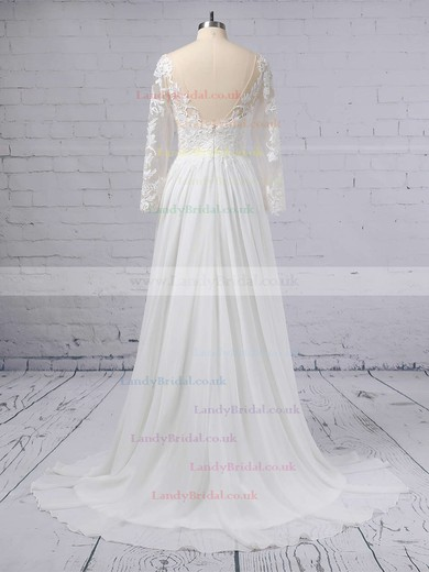 A-line V-neck Chiffon Tulle Sweep Train Appliques Lace Wedding Dresses #LDB00023371