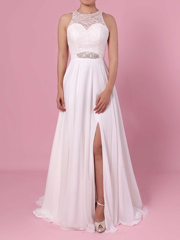 A-line Scoop Neck Lace Chiffon Floor-length Sashes / Ribbons Wedding Dresses #LDB00023372
