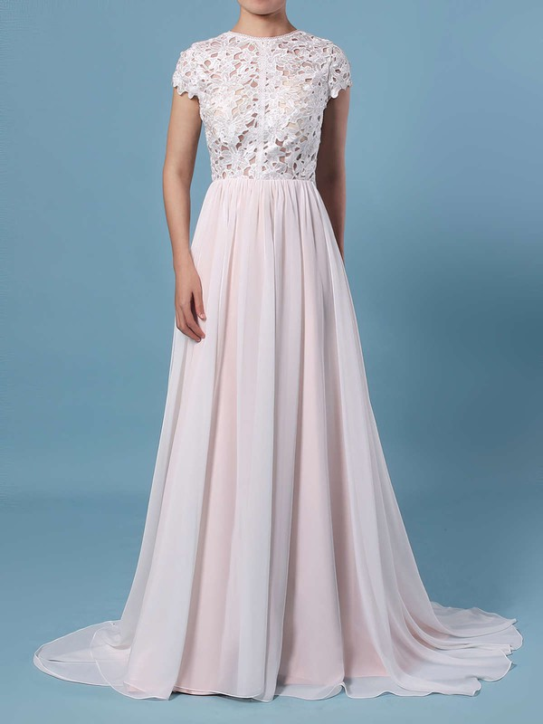 A-line Scoop Neck Lace Chiffon Floor-length Wedding Dresses #LDB00023373