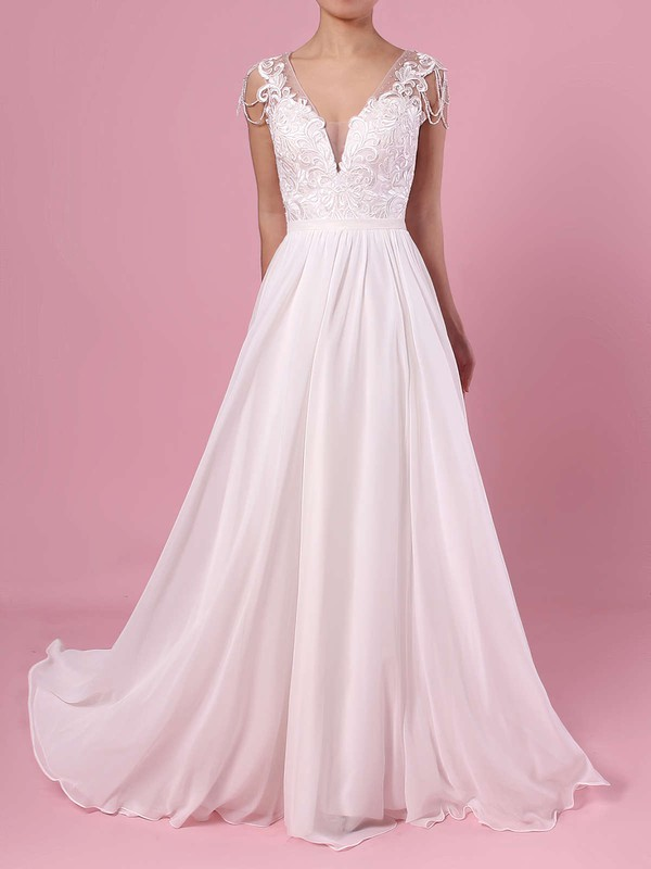 A-line V-neck Chiffon Tulle Sweep Train Beading Wedding Dresses #LDB00023374