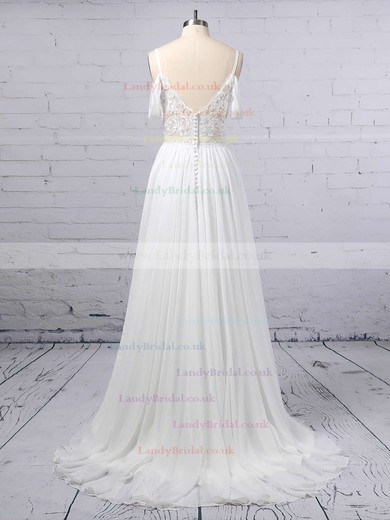 A-line V-neck Chiffon Sweep Train Lace Wedding Dresses #LDB00023377