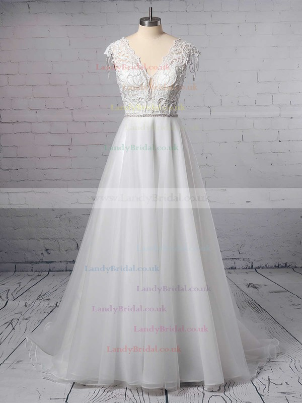 Princess V-neck Tulle Sweep Train Appliques Lace Wedding Dresses #LDB00023380
