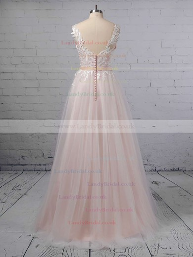 Princess V-neck Tulle Sweep Train Appliques Lace Wedding Dresses #LDB00023381