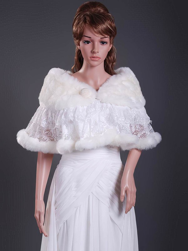 Beautiful Faux Fur/Lace Wedding/Party/Evening Shawls #LDB1420010