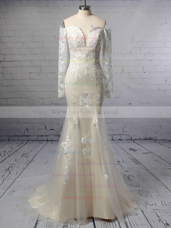 Trumpet/Mermaid Off-the-shoulder Tulle Sweep Train Beading Wedding Dresses #LDB00023385