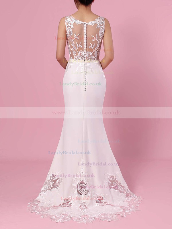 Trumpet/Mermaid V-neck Tulle Silk-like Satin Sweep Train Embroidered Wedding Dresses #LDB00023387