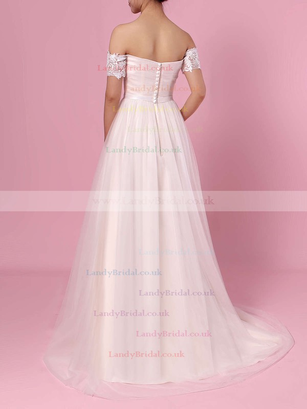Princess Off-the-shoulder Tulle Sweep Train Sashes / Ribbons Wedding Dresses #LDB00023388