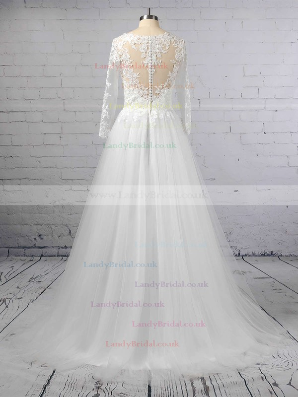 Princess Scoop Neck Tulle Sweep Train Appliques Lace Wedding Dresses #LDB00023389