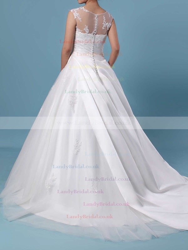 Ball Gown Scoop Neck Tulle Sweep Train Appliques Lace Wedding Dresses #LDB00023390
