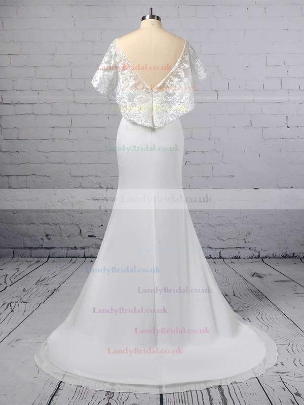 Trumpet/Mermaid Scoop Neck Lace Chiffon Sweep Train Appliques Lace Wedding Dresses #LDB00023391